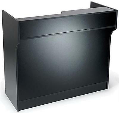 "4' Black Wooden Knockdown ledge top counter / POS Counter 21""D x 42""H"