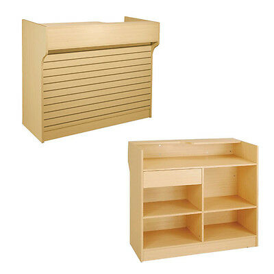 """4' Maple Slatwall Front Knockdown ledge top counter / POS Counter 21""""D x 42""""H"""