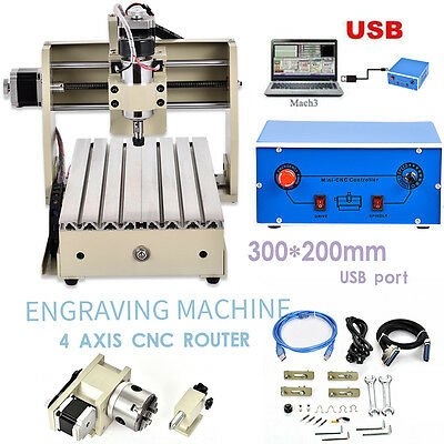 4 Axis CNC RUTOR Engraver3020 Router Milling Machine Drill 3D Cutting + MACH3