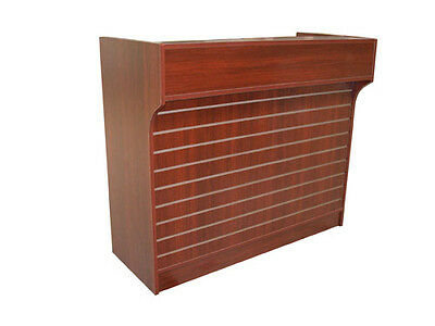 """4' Cherry Slatwall Front Knockdown ledge top counter / POS Counter 21""""D x 42""""H"""