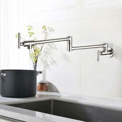 Double Handle Wall Mounted Pot Filler Kitchen Faucet Brushed Nickel Single Cold
