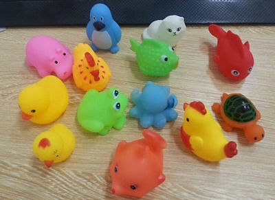 2016 NEW 13Pcs Soft Rubber Float Sqeeze Sound Baby Wash Bath Play Animals Toys
