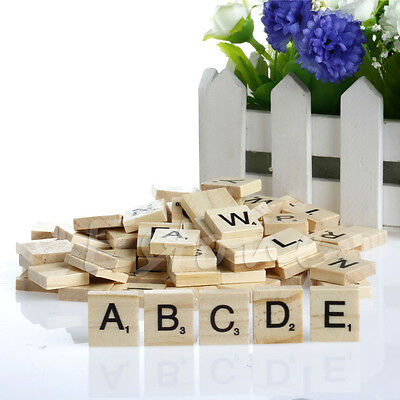 New 100Pcs Wooden Scrabble Tiles Black Letters Numbers For Crafts Wood