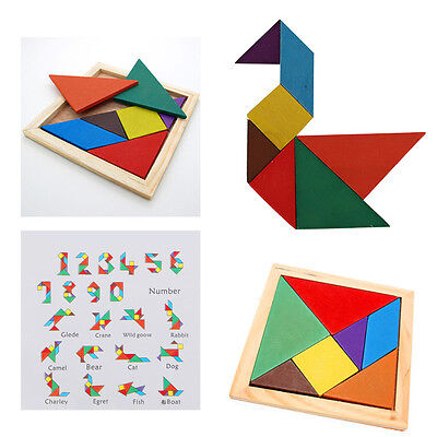 Children Play Wood Toy Colorful Wooden Tangram Brain Teaser Puzzle Kid Game New