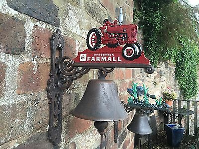McCormick Farmall Red Cast Iron Tractor Bell for Doors Gate Posts Farms