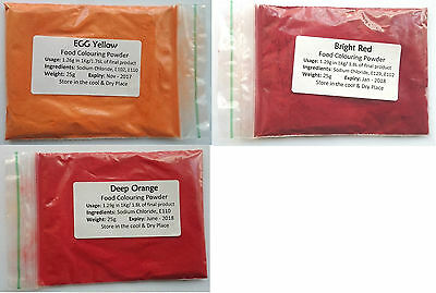Food Colouring Powder 25g All Colours NEW Water Soluble Colour Free Delivery