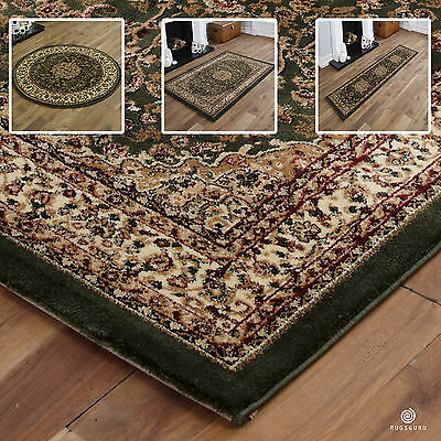 Quality Small X Extra Large Rug - Traditional Classic Green Rugs, Runners & Mats