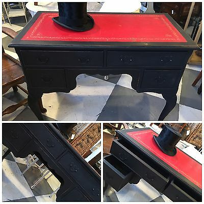 Leather Topped Antique Desk in black