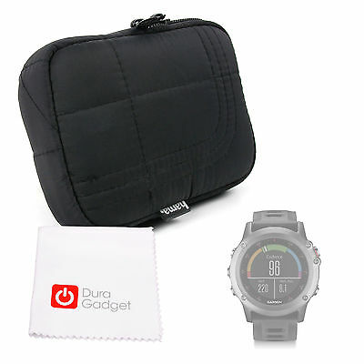Black Case / Bag with Belt Loop for Garmin Fenix 3 HR Smartwatch + Cleaning Clot