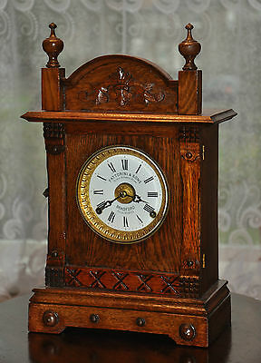 FATTORINI & SONS Bradfort Patent Automatic Alarm Mantle Clock Oak Cased (0210)
