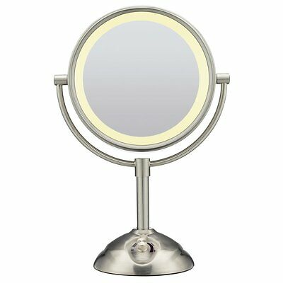 Conair Double-Sided Vanity Makeup Mirror Satin Nickel Finish 10x NEW