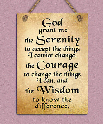 METAL HANGING SIGN god serenity prayer positive inspiring quote wall ...
