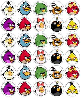 30x Angry Birds Cupcake Toppers Edible Wafer Paper Fairy Cake Toppers