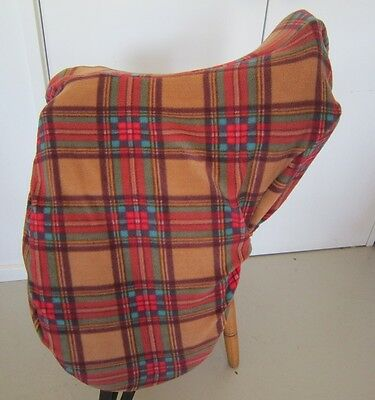 Horse Saddle cover Light brown tartan FREE EMBROIDERY Australian Made Protection