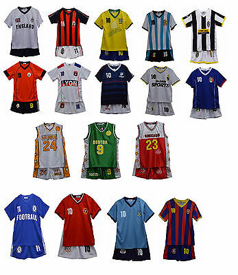 Boys Basketball Kids Vest Football Top & Shorts Girls Summer Set Kit 3-13 Years