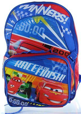 """Disney Pixar Cars 16"""" Backpack with Lunch Bag"""
