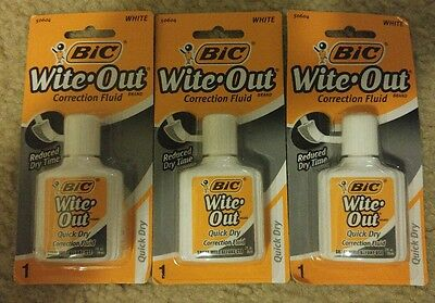 (3) BIC Wite-Out Correction Fluid White Out 20mL per bottle