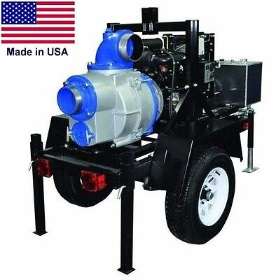 "TRASH PUMP - Trailer Mounted - Commercial - 6"" Ports - 59,400 GPH - 23 Hp Diesel"