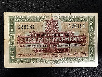 Straits Settlements 10 Cents P8b 1919 VF+/ almost XF - Scarce