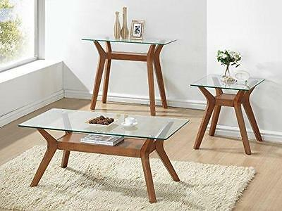 Libby End Table - Side Table - Lamp Table - Finish : Walnut / Glass - Furniture