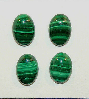 Malachite 10x14mm with 4.5mm dome Cabochons Set of 4 (9963)