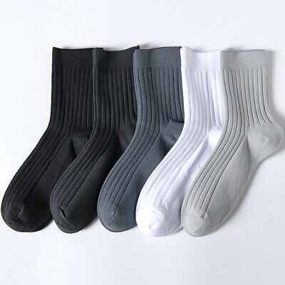 5 Pairs Mens Socks Lot 100% Cotton Warm Casual Business Classic Dress Socks 9-12