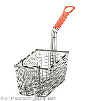 Heavy Duty Rectangular Professional Fry Basket, with Hook,Orange Handle Deep Fry