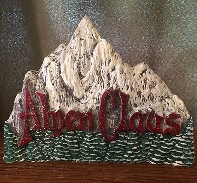 """Midwest of Cannon Falls Acrylic Mountain Alps ALPEN CLAUS PLAQUE STAND 7.5"""" tall"""