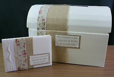 Wedding post box & guest book decorated, shabby chic, vintage, hessian, lace