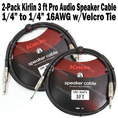"2-Pack Kirlin Pro Audio 3 FT Speaker Cable 1/4"" 16AWG Guitar Bass Amp Amplifier"