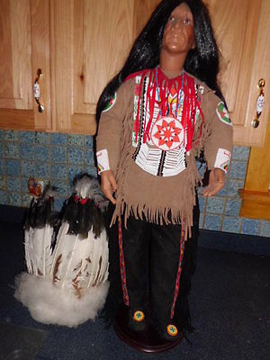 "Timeless Native American male 32"" tall porcelain doll limited collection"