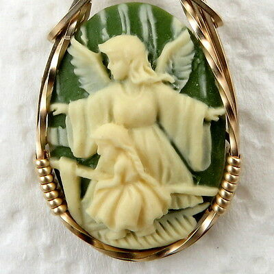 Guardian Angel Child Cameo Pendant 14K Rolled Gold Jewelry Green Resin