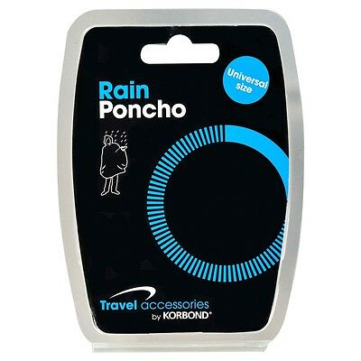 Korbond Rain Poncho Universal Size Travel Accessory Compact Care New Adult Child