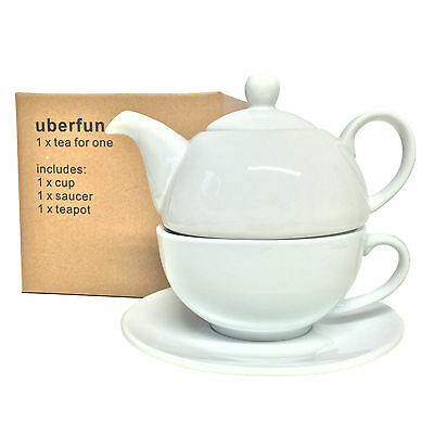 uberfun Tea for One Set New Porcelain Teapot Teacup Saucer White China Coffee