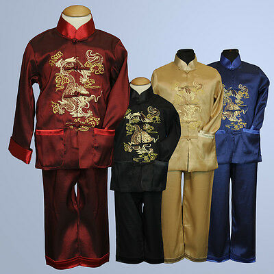 BNWT Boy Chinese New Year Dragon suit costume set sz 1-18 Red Black Blue Gold