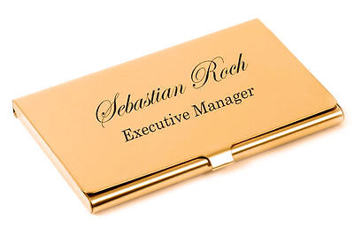 Personalized High Polished Shiny Gold Business Card Holder Custom Engraved Free