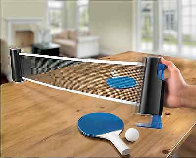 Portable Tabletop Tennis Game Kit Retractable Net Paddles 3 Balls Ping Pong Set