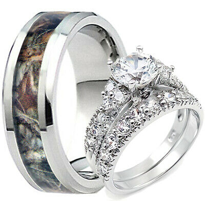 Men's Oak Tree Mossy Forest Camo Tungsten Band Her Sterling Silver Ring Set