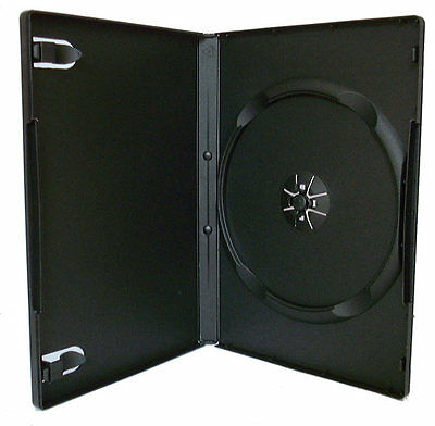 25 x Single DVD Case Cases 14mm Spine Standard Black Clear Front Cover Sleeve