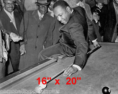 """Martin Luther King~Pool~Playing Pool~Billiards~Poster~16"""" x 20"""" Photo"""