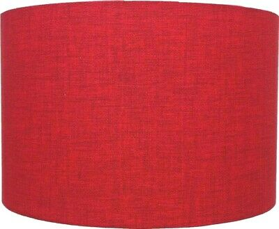 Red Linen Style Cylinder / Drum Lampshades Ceiling Light / Table Lamp / Pendant