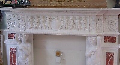 Marble Mantel Fireplace Atlas 2 Half Men w Frieze of Cherubs Rouge White W 77""