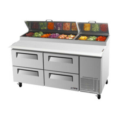 Turbo Air TPR-67SD-D4 Pizza Prep Table w/ Four Drawers Stainless