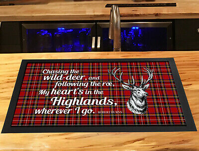 My Heart is in the Highlands Burns night quote Scottish Tartan bar runner mat