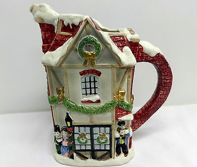 Fitz and Floyd Dickens Christmas Pitcher Vintage 1987 Hand Painted
