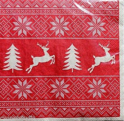 CTS Set 20 Cocktail Beverage Christmas 2-ply Paper Napkins - Christmas Sweater