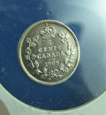 Canada 1908 5 cents Small 8 very nice coin about UNC