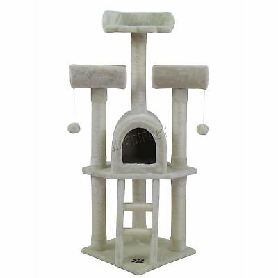 FoxHunter Cat Tree Scratching Post Activity Centre Bed Toys Scratcher M003 Beige