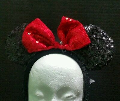 "Disney Parks ""Minnie Mouse"" Black and Red Bow Sequins Ear Headband-new with tags"