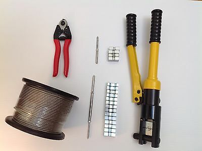 11 x Balustrade Kit No.11 - Wire Cutter, Swager, 50m S/S Wire, Rigging Lag/Swage
